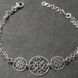 Silver Geometric Snowflake Heart Charm Bracelet
